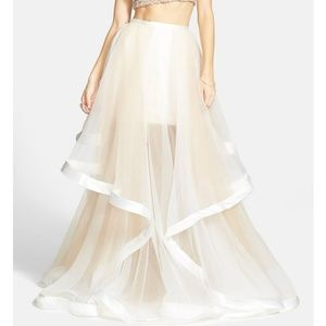 Terani Couture Satin Trimmed Tulle Covered Skirt